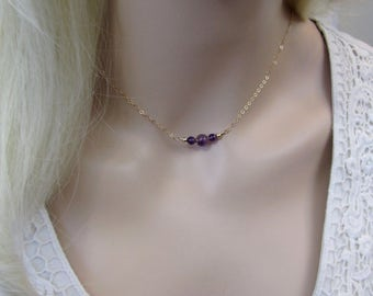 Amethyst Choker Necklace, Amethyst Necklace, February Birthstone Gift, Sterling Silver, 14K Gold Filled, Rose Gold, Purple Layering Necklace