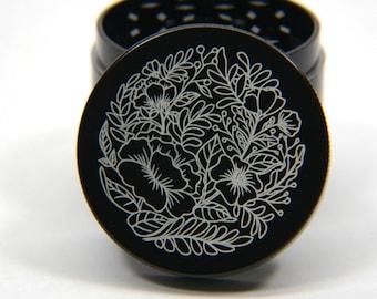 Laser Engraved Herb Grinder - Flowers Art Design 4 Piece Grinder #102