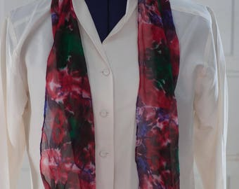 Silk Shibori Scarf - Hand Dyed Silk Scarf - Red, Blue, Green - Gift for Her