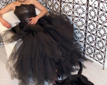 QUEEN of the NIGHT dress in black leather
