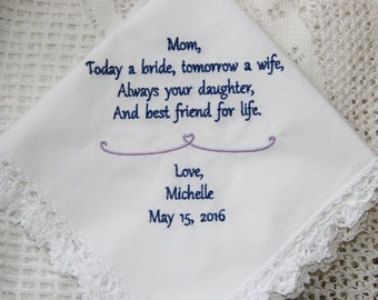 Daughter to Mother-Mom Gift- Embroidered Handkerchief Choose Your Wording and Design