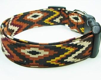 Southwest Aztec Chevron Mocha Dog Collar