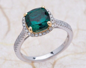 2.40ctw Lab Grown Green Cushion Cut Emerald Halo Engagement Ring in 14K Yellow and White Gold / Cushion Cut Emerald Engagement Ring