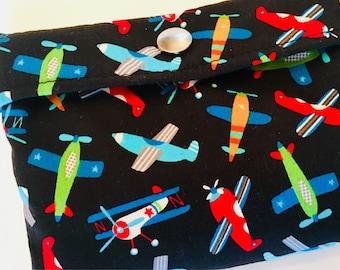 Snack Bag, Reusable, Airplane Print