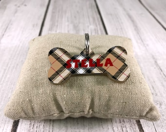 Acrylic Dog Bone Tag (Designer Plaid)