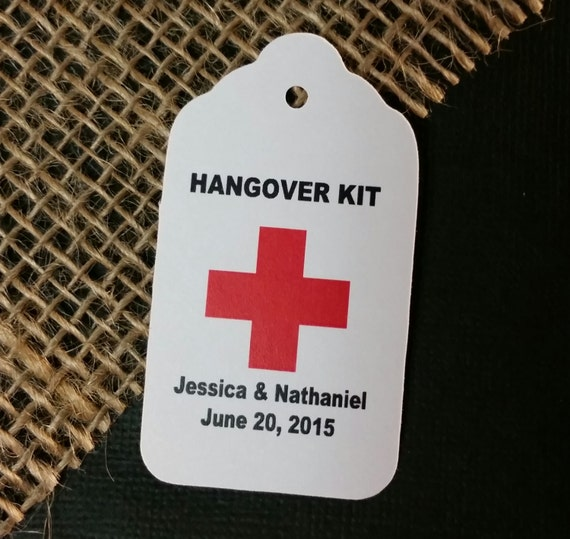 Hangover Kit Tag Personalized Wedding Favor Tag  choose your amount day after party
