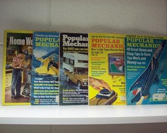 5 Popular Mechanics Home Workshop Magazines Books DIY Home Repair 50's 70's Do It Yourself