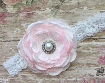 Light pink and white headband-vintage white and blush pink baby headband-light pink and white fabric lace headband-light pink hair bow