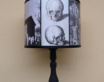 Anatomy lamp shade lampshade requiescat in pace lighting black and white skull lamp shade lampshade gothic home decor creepy unique lampshadehalloweenskulls dark artspooky shades graveyard aloadofball Images