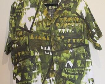Barkcloth Kamehameha Hawaiian Shirt