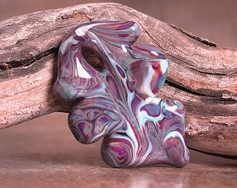 Art Glass Leaf Pendant, Lampwork Focal Bead, Lampork Leaves, Divine Spark Designs, SRA