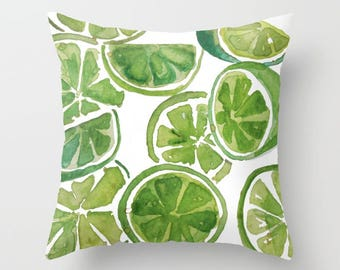 LIMES WATERCOLOR, Food, Fruit, Lemon, Lime, Green, White, Watercolor, Art, Kitchen, throw pillow, ART pillow, home decor, Alicia Hayes Art