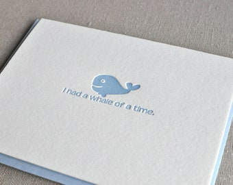 Whale of a Time Letterpress Card & Envelope