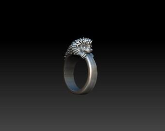 Hedgehog ring Hedgehog jewelry Silver hedgehog Hedgehog art Hedgehog Animal jewelry Gift Sterling silver