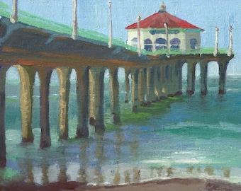 """Morning At The Pier - 8x10"""" Fine Art Print from Original Oil Painting, Surf Art, Beach Painting, Plein Air Seascape"""