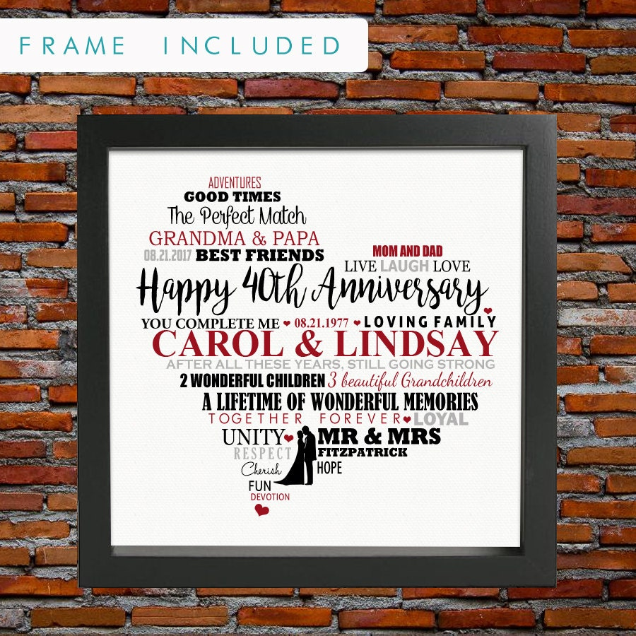 Personalized 40th Wedding Anniversary Ruby