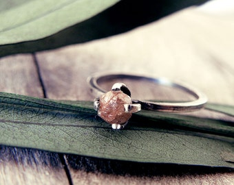 Raw diamond ring, red diamond ring, diamond ring, promise ring, engagement ring, raw stone, rough diamond ring, natural diamond, rings set