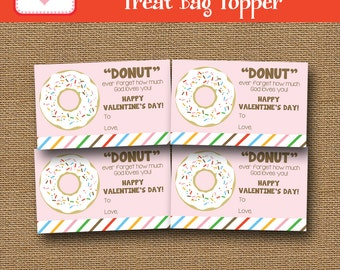 Donut Valentine | Donut Treat Bag Topper | Kids Goody Bag | DIY PRINTABLE | Christian Treat Bag Label | God Loves You Tag | Instant Download