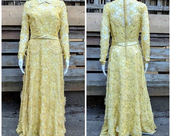 Vintage 1960's 70s ARTIBELLO TORONTO yellow silk with chiffon embroidered flower lace full length long sleeve dress