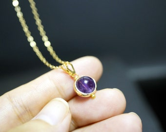 Tiny Gold Amethyst Necklace - Simple Single Amethyst Pendant - February Birthstone