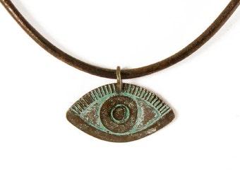 Greek Evil Eye Necklace, Large Evil Eye Pendant, Patina Necklace, Leather Necklace