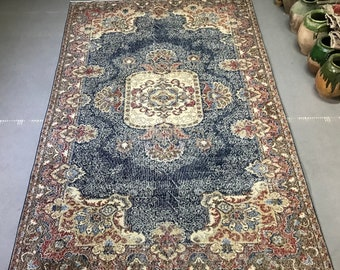 """6""""3x9""""7 ft/193 cm, pirimitive blue Oushak rug, navy blue, distressed rug,Turkish Oushak rug, vintage Persian rug, home decor Oriental rug"""