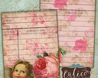 Valentines Love, Library cards, Printable Ephemera, Digital, Collage Sheet, Junk Journal Cards, Digital Library Card, Old Library Cards