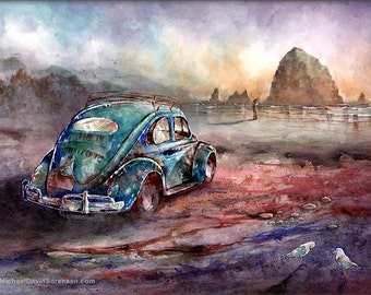 The Beach Trip- Cannon Beach, Oregon. Oval Window VW Bug Watercolor Art Print. 50's Beetle. Vintage Car Art. Oregon Coast. Haystack Rock.