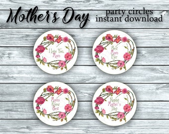 "Happy Mothers Day Party Circles 2 "" Printable  Shabby Chic Victorian Floral Rose Pink White Cupcake Toppers Instant Download Gift Stickers"