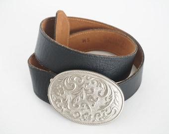 Vintage 90s Black Leather Floral Belt - Women's Size S/M