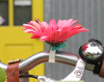 Hot Pink Gerbera Daisy Flower with yellow center  - Clip on silk flowers for bikes