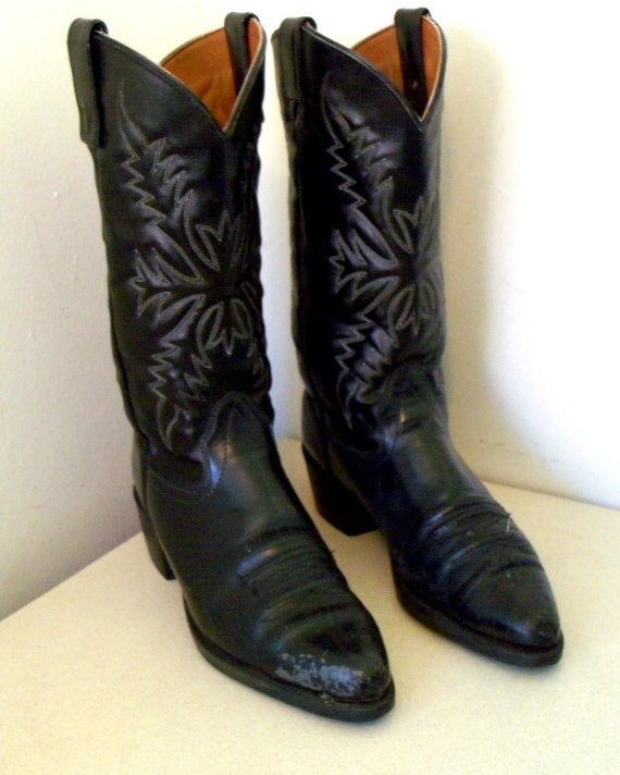 leather 10 Texas D Beautiful boots 5 Cowgirl Black size Vintage cowboy brand 9 or size FppqxSBnO