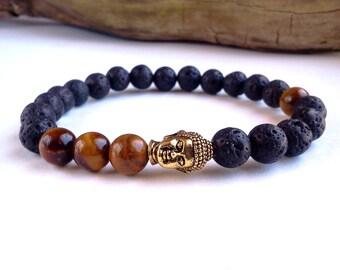 Mens Buddha bracelet, Lava Stone bracelet, Tigers Eye bracelet, Antique Gold Buddha bracelet, Mens bracelet, Energy bracelet