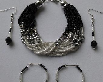 Black & White Multi Strand Bracelet with Matching Earrings