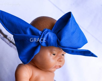 ROYAL BLUE HEAD Wrap- blue head wrap; headbands; hair accessories; baby shower gifts; gifts; props; newborn gifts; newborn head wraps; bows