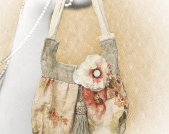 Small Purse Wristlet, Embellished Dance Bag,  Dusty Rose Floral Linen
