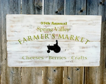 Made to Order Handmade Farmer's Market Distressed Wooden Sign - Country Kitchen Wall Decor