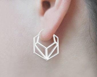 Geometric Earrings - Sterling Silver Earrings - Minimal Earrings - Hoops - Hoop Earrings - Simple Earrings - Modern Earrings - Hexagon Hoops