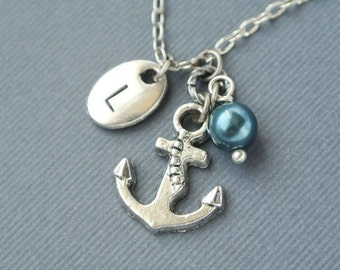 Anchor necklace for women-Silver anchor jewelry gift for her-Nautical necklace-Initial anchor pendant jewelry-Personalized summer necklace