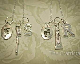 2 Best Friend Necklaces, 2 Friendship Necklaces, Toothbrush and Toothpaste Necklace, 2 Sisters Necklace - Bridesmaid Necklace - Humor Gifts