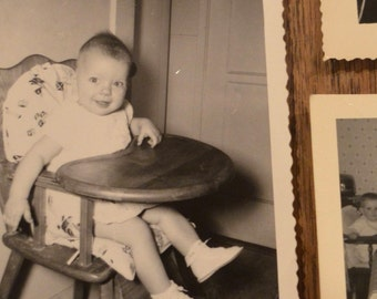 Lot of six vintage antique old black and white photographs pictures photos child high chair eating