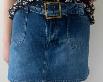Denim Mini Skirt High Waisted with Belt Skort Style Size 8 Medium A Line Skirt Blue Jeans Mini Skirt Front Pockets Preppy Boho Summer Skirt