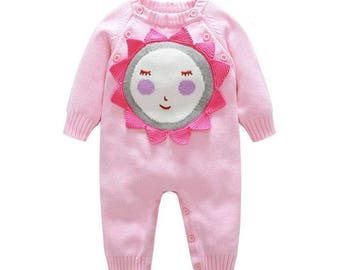 Baby Girl Romper Knitted 100% Cotton Long Sleeves Pink