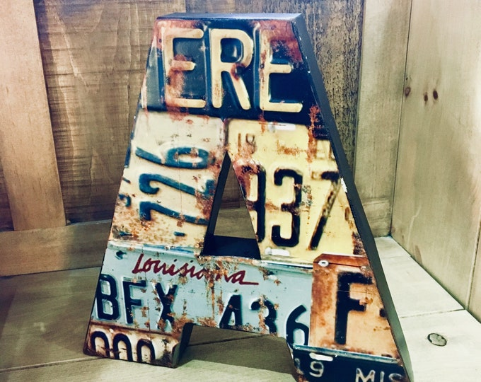 Metal USA License Plate Letter - Home Decor/Photo Prop - Only A Available