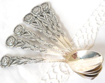 6 vintage silver plated tea spoons teaspoons cutlery set Hildesheimer rose wedding gift vintage dessert spoons tea party high tea