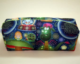 Boxy Makeup Bag - Disney's Main Street Electrical Parade Print- Pencil Pouch - Alice, Dumbo, Elliot, Mickey, and Pinocchio