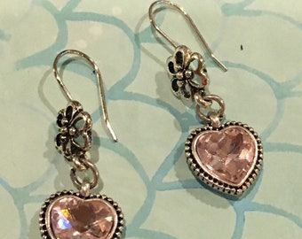 Heart shaped pink crystal earrings with sterling silver trim/wires.