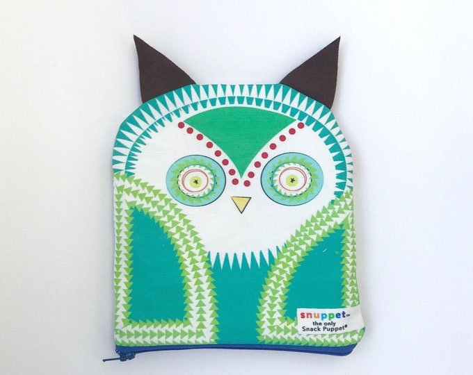 Reusable Lined Zipper Bag- Owl (FREE SHIPPING)