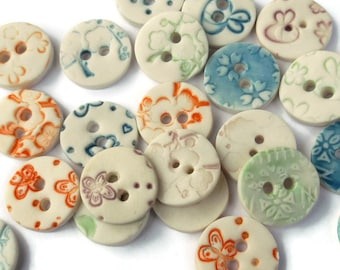 Craft Gifts for Crafters - Round Buttons - Ceramic Buttons - Craft Buttons - Ceramic Round Buttons - Unique Button - Porcelain Button