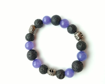 Essential Oil Diffuser Bracelet - Black, Purple